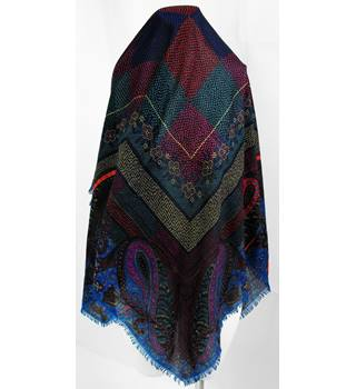 765f0935a9423 Rare Vintage Large Square Paisley Patterned Scarf