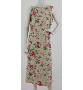 f37526ff3c Vintage 1990 s Laura Ashley Size  14 Beige  amp  Pink Floral Print Shift  Dress