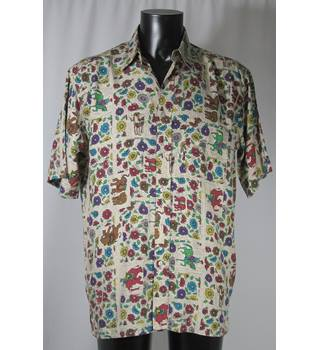 ef5f83c4c5 Vintage M amp S St Michael Size M Beige and floral elephant print silk shirt