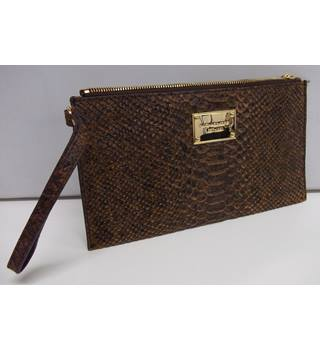 9c97304baab2 Michael Kors - Brown Lizard Skin - Clutch Bag