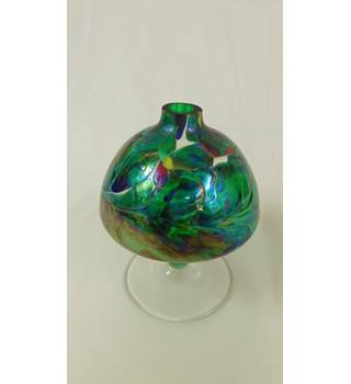 Reasonable Vintage Multicoloured Glass Basket Vase Fashionable And Attractive Packages Art Glass British