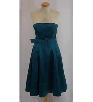dfab630417 Coast - Size  10 - Dark aqua strapless satin dress with matching shrug  cardigan