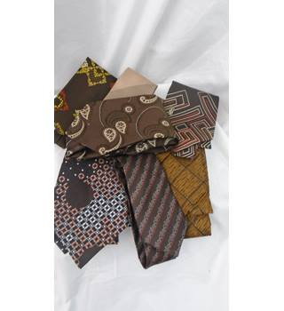 39870c85e JOB LOT 7 BROWN MIX VINTAGE RETRO TIES Various - Size  M - Brown -