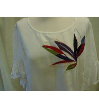 43945c7966 M&S Collection Linen Mix Embroidered Top, Ivory, Size 20 M&S · M&S  ...