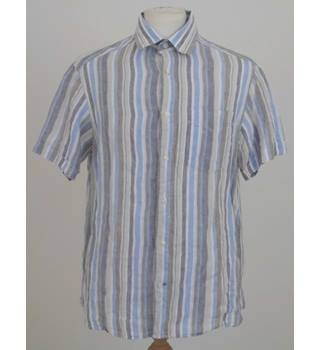 3af394f1 M&S Size S beige/white/blue/grey striped short sleeve shirt