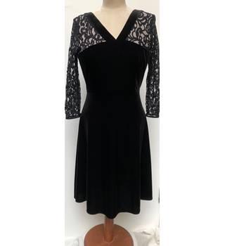 31476f5b4 M &S Marks & Spencer - Black velvet & lace knee length