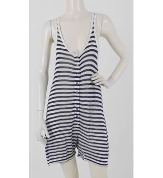 a69cc2f754 T by Alexander Wang Size: M Navy Blue & White Striped Playsuit