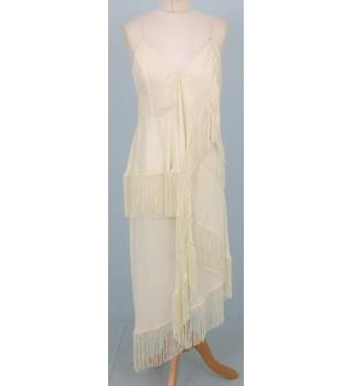 b8e7f2ae7a15 BNWT ASOS Size 10 Cream Fringed Sleeveless Maxi-length Party Dress