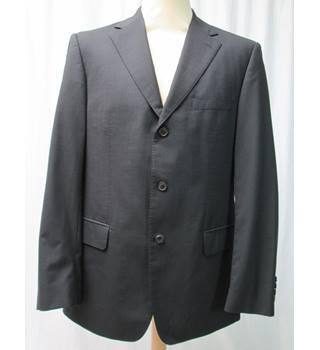 1f449b1f Hugo Boss Size L black faintly striped single breasted suit jacket