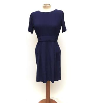 417d8c358f1b WHISTLES - Navy fitted dress with pleated skirt and belt - Size S