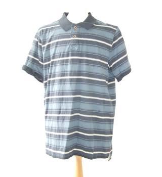 6aeec45b4 BNWT Mens Fat Face XL blue cotton soft striped white polo neck top shirt  smart hippie