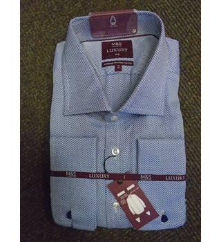 "719a5d70d M&S Luxury Blue Two-Fold Cotton Shirt, Slim, Collar 14.5"""