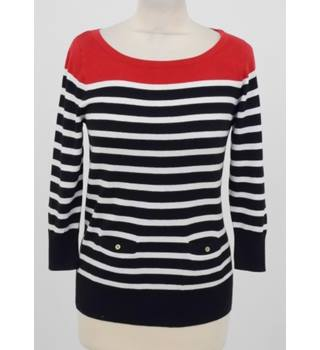 0316ec7b1 Oasis Size S Red and Black/ White Horizontally Striped Jumper
