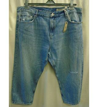 054b751a6f449 M&S Distressed Denim Jeans, Straight Leg, Size 16 Short M&S