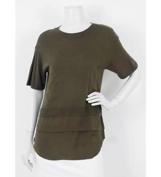 cdf83463 Michael Kors Size: M Olive Green Cashmere Blend & Silk WovenTop