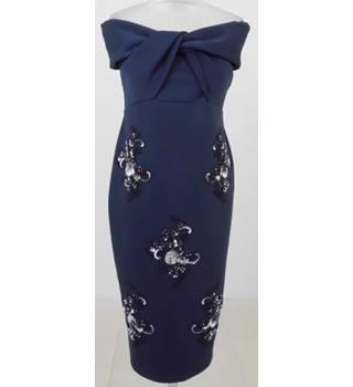 fb96c2811ab0e ASOS Size: 8 Navy embellished cold shoulder dress
