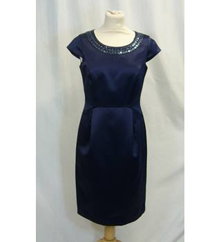 3ddb47bb41a8 Precis Petite Size 8 Midninght Blue with Beaded Embellishment Knee Length  Dress