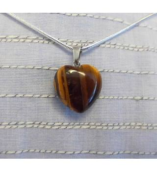569ea018859 Mini Tiger Eye Gemstone Heart on Chain Necklace