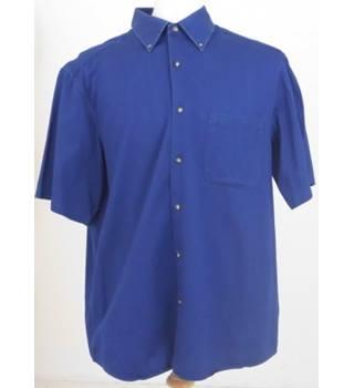 9daaf1b6ac M&S Blue Harbour Size L Indigo Blue Short Sleeved Shirt