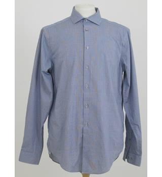 "0148773f Calvin Klein Size 16"" collar Blue & white check long sleeved shirt"