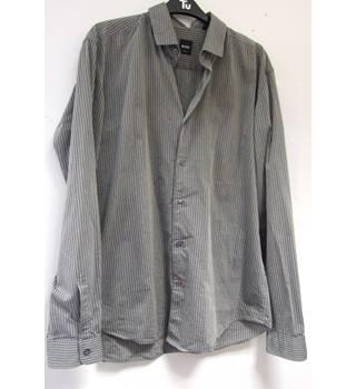 12641deb Striped slim fit shirt Hugo Boss - Size: L - Grey - Long sleeved