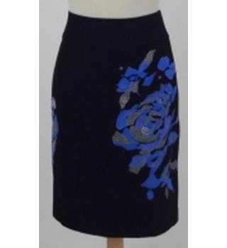 4015c8ba6f Monsoon Size 8 Black with blue and silver embroidered rose skirt