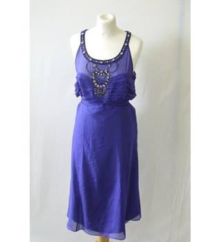 6c09bd62aec4 Monsoon 16 royal blue shiny silk beaded sequin halterneck midi gown party  evening
