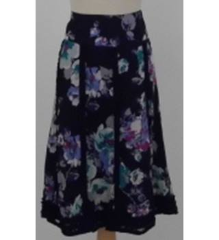 026ec2c419 Monsoon Size 16 black, purple and pink floral patterned skirt