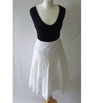 f565d7308b Monsoon 14 white cotton brodeire anglaise lightweight mesh skirt flippy  full knee boho summer sun hippie