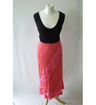 6959874d71 Vintage Monsoon 16 orange pink silk blend midi sequin floral shiny fitted  skirt tight summer tropical
