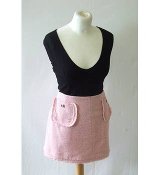 e7c3feb85 BNWT River Island 18 pink white woven knit cotton blend mini skirt waffle  weave pastel preppy