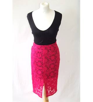 5bb45ea575 River Island 8 hot bright pink lace pencil skirt fitted smart sheer split  front party