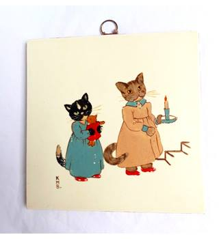 3b843368ee4a Vintage hand painted mid century wall hanging tile children's illustration  kittens cats bedtime
