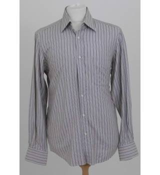 "1e9e29b066cbc4 Hugo Boss Size 39 / 15.5"" Collar Brown Striped long sleeve Shirt"