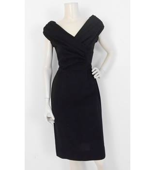 905a5e1ac28f76 Vintage 50's Tricosa Paris Size:8 Black Bardot Dress