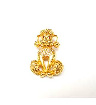 9f6aed82300 Gold Tone Clear Faceted Crystal Dog Poodle Pin Brooch