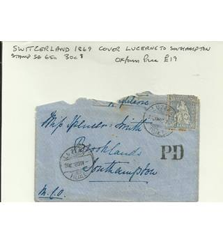 SWITZERLAND 1869 COVER LUCERNE TO SOUTHAMPTON.
