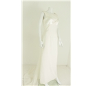 Vintage Inspired Kelsey Rose Size: 12 Cream Gown with Satin Look Panels and Lace Back with Bow Detailing
