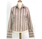 Thomas Pink - Size: 14 - Vertical Sand, Rose and Mocha striped - Long sleeved shirt