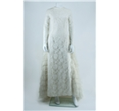 Vintage C. 1970's Unbranded Size 8 Lace Wedding Dress with Tiered Lace Train Detailing