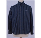 Pierre Cardin Size S Black Shirt with Blue and Grey Strips