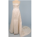 Size M rich ivory cream strapless wedding dress with applique and pearl bead design