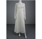 Lovely Handmade 70's Style White Size 6 Wedding Dress With Empire Waist Sheer Sleeves And Floral Details