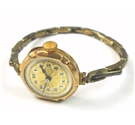 Gold on silver round face mechanical wind up stretchy watch - 375 stamp