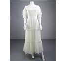 Handmade 1970's Style White Wedding Gown With Tiered Skirt and Embroidered Trim
