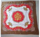 Vintage Style Square Scarf - Red, Gold & Brown on Cream