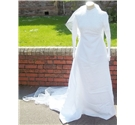 Vintage 70s size S white wedding dress, veil and head dress
