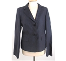 "*Jigsaw Size: 12, 35.5"" chest Abbey Grey With Fine Silver Pinstripe Casual / Fashionable Linen Cropped Blazer"
