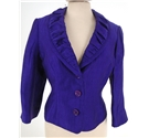 "Precis Size: 10, 34"" chest Dark Violet Glossy / Stylish Single Breasted Designer Linen Blend Cropped Blazer With Shall Collar"