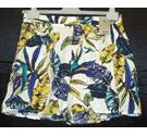 BNWT Tu - Sainsburys Size 12 white with blue and yellow tropical foliage print flared shorts